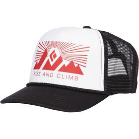 Black Diamond Flat Bill Trucker Hat white-fire red